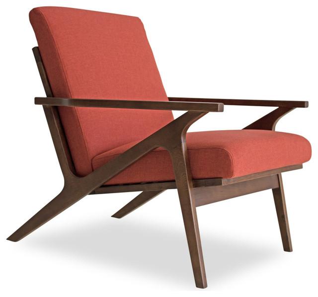 adalyn mid century modern lounge chair red orange midcentury