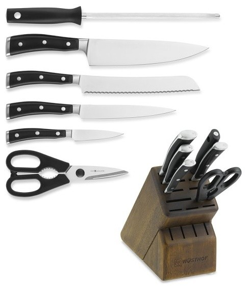 Wusthof Classic Ikon 7 Piece Walnut Block Knife Set Black Transitional Knife Sets By La Cuisine International