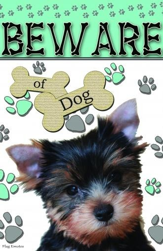 Flag Emotes, Double Sided Garden Flag, Beware Of Dog, Yorkie Contemporary  Flags