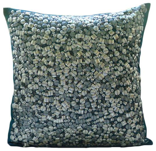 "Antique Silver Treasure, Blue Art Silk 16""x16"" Throw Pillow Covers contemporary-decorative-pillows"