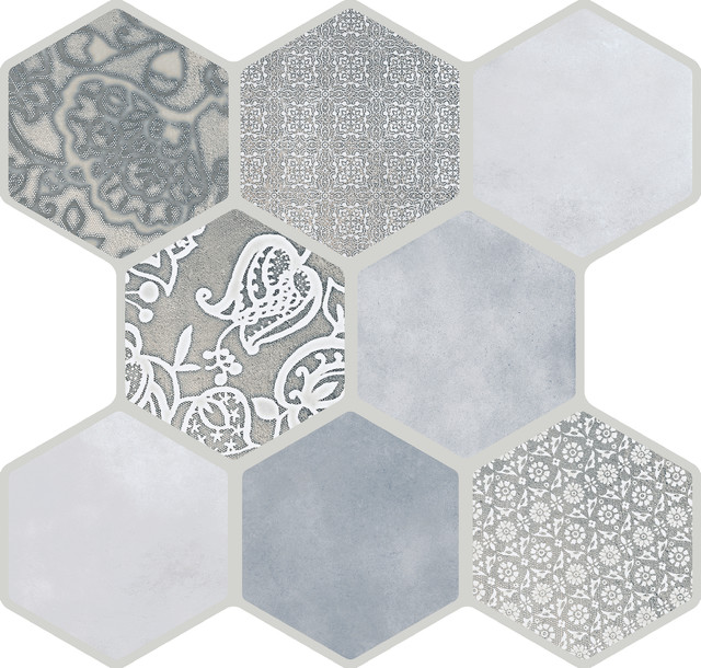 """Vice & Virtue Gray 18""""x18"""" Porcelain Floor and Wall Tile Tile, Set of 9"""