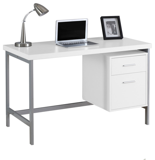 Kobe Contemporary Computer Desk With 2 Drawers, White.