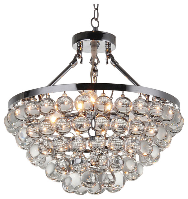 Belle 5 Light Chrome Ont Spherical Glass Crystal Chandelier