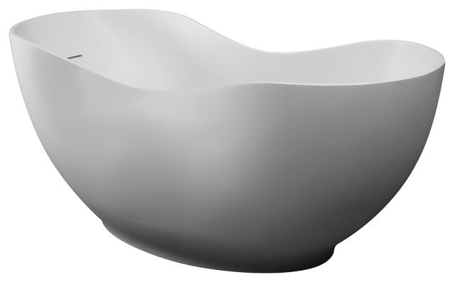 "Alfi Brand Ab9949 66"" White Solid Surface Smooth Resin Soaking Bathtub."