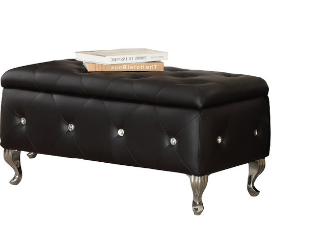 Chante Crystal Tufted Storage Bench, Black