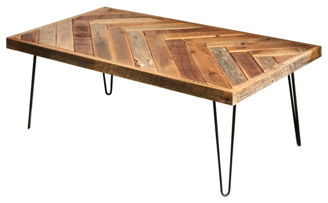 herringbone coffee table, hairpin legs - rustic - coffee tables