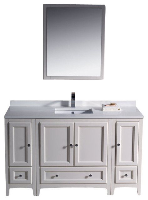 "Oxford 54"" White Vanity, 2 Side Cabinets Livenza Chrome Faucet."