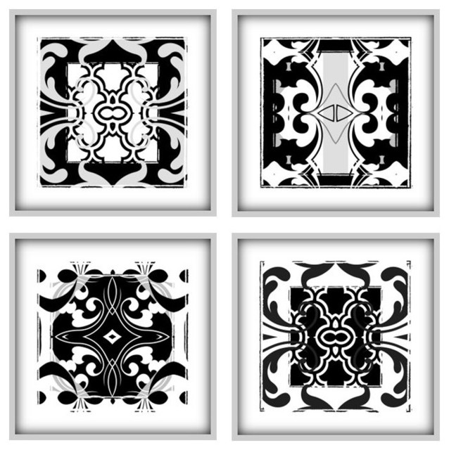Abstract art prints set of 4 black and white