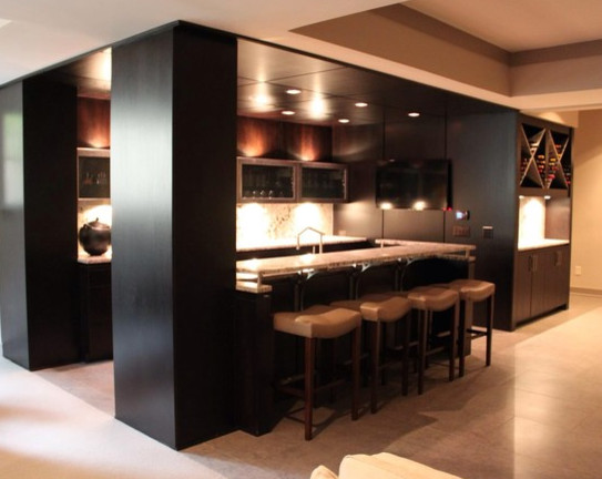 Inspiration for a contemporary home bar remodel in Indianapolis