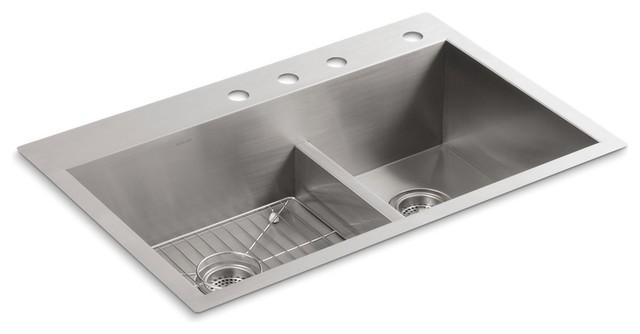 Kohler Vault Smart Divide Top-/under-Mount Double Bowl Sink, 4 Faucet Holes.