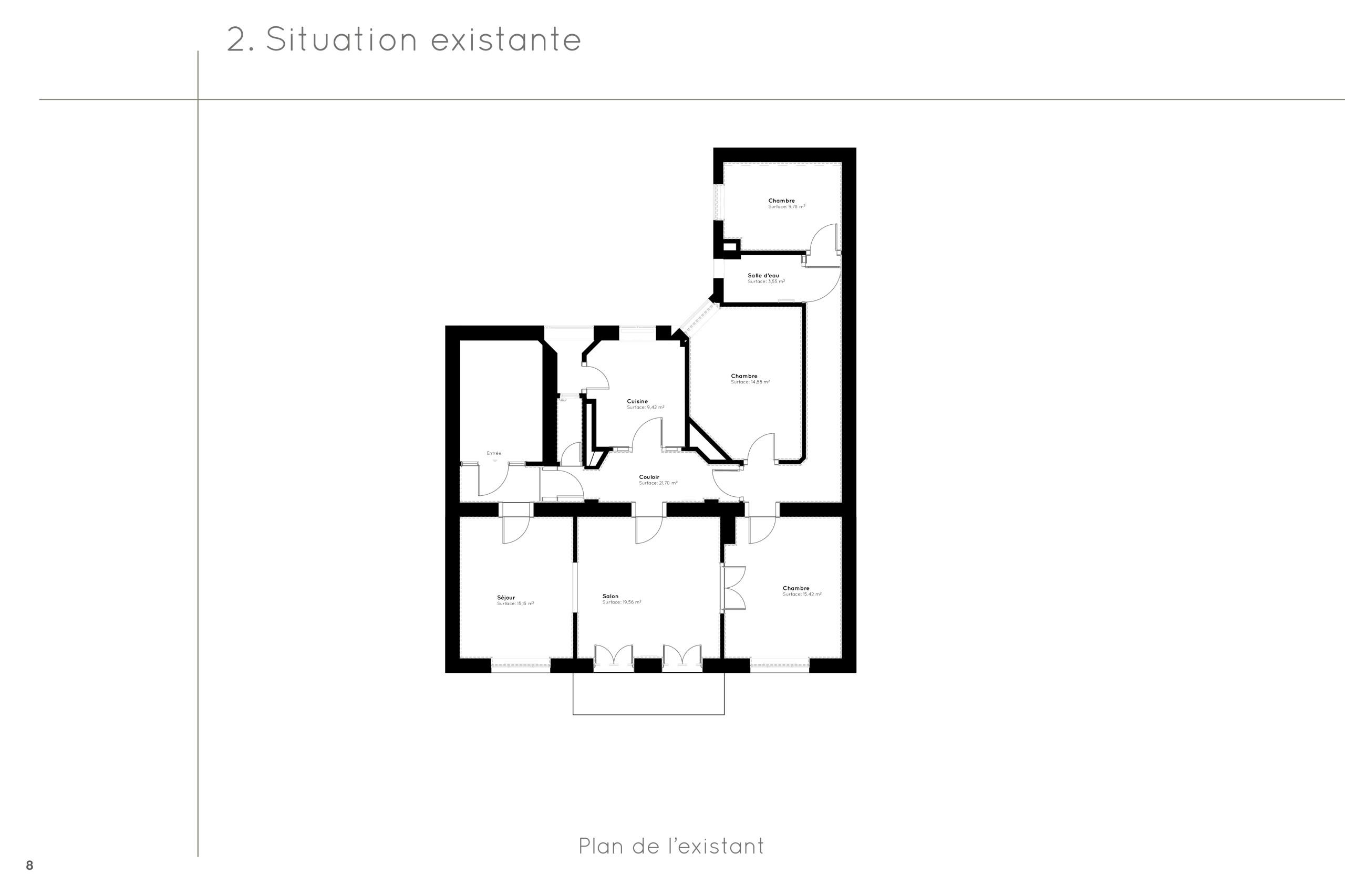 Appartement C - Plan de l'existant