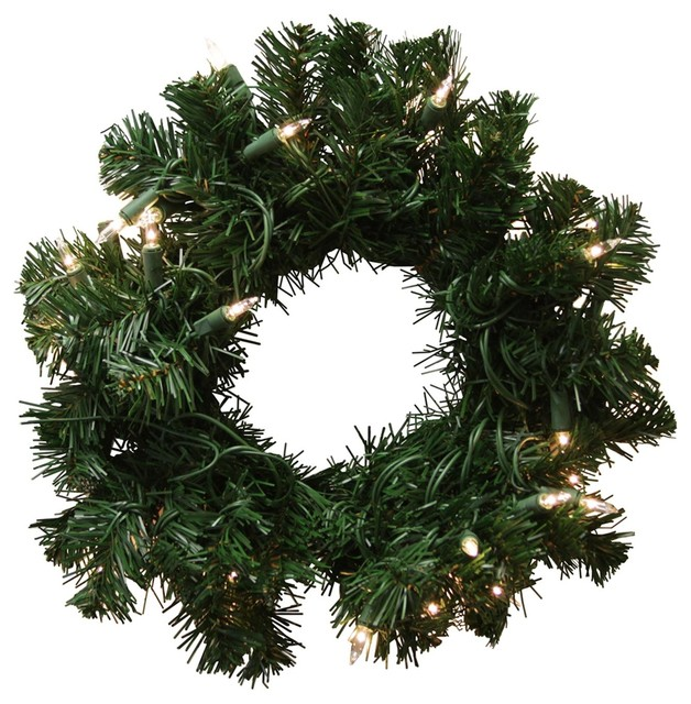 16 Pre-Lit Deluxe Windsor Pine Artificial Christmas Wreath, Clear Lights.