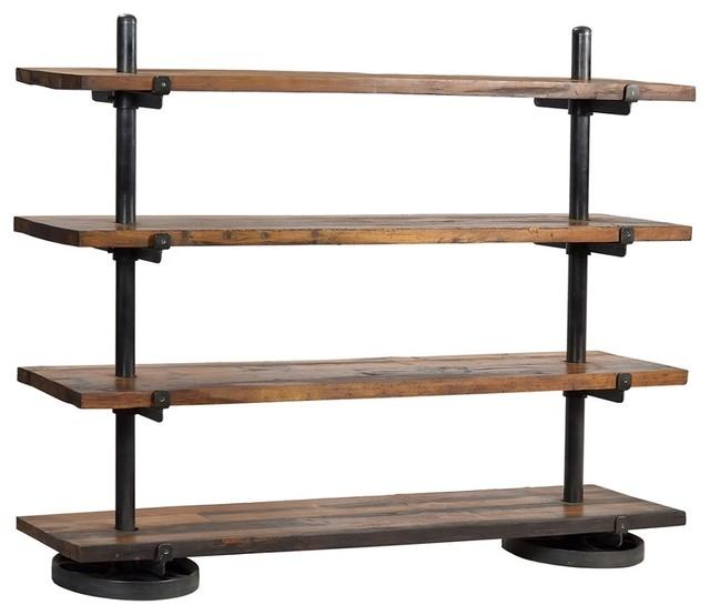 industrail steel rack w wood shelf traditional display. Black Bedroom Furniture Sets. Home Design Ideas