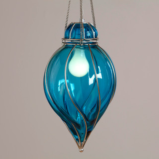 blue glass venetian pendant midcentury pendant. Black Bedroom Furniture Sets. Home Design Ideas