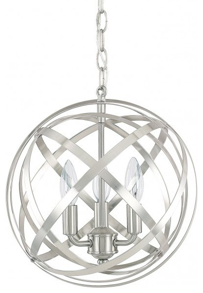 Capital Lighting Axis 3-Light Chandelier, Winter Gold, Brushed Nickel, Standard