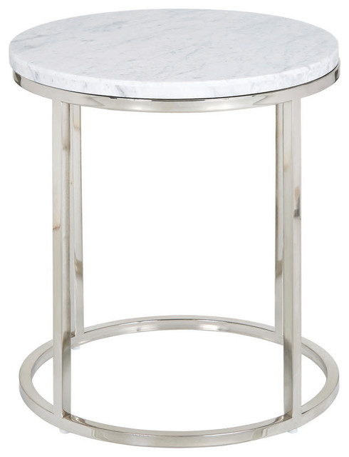 Palliser Furniture Julien Round End Table Chrome Base White Marble Top