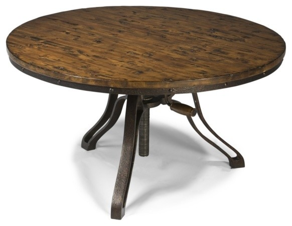 Cranfill Aged Pine Round Adjustable Height Cocktail Table Rustic Coffee Tables By