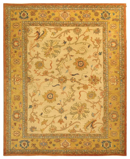 Traditional Area Rugs: Antiquities Brown/Yellow Area Rug AT25A