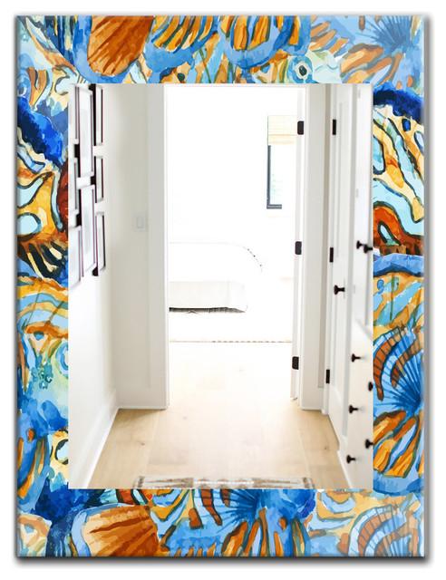 Designart Handpainted Orange And Blue Fishes Frameless Wall Mirror, 30x40