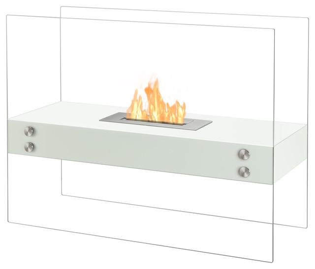 Ignis Vitrum H White Freestanding Ventless Ethanol Fireplace.