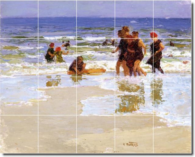 Edward Potthast Waterfront Painting Ceramic Tile Mural #138, 60