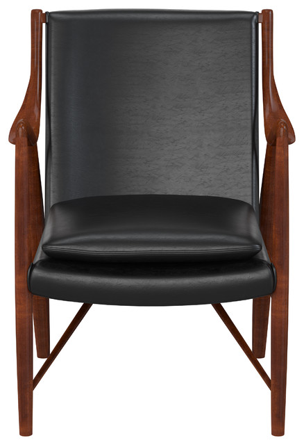 Pearce Modern Accent Chair, Black Leather. -2