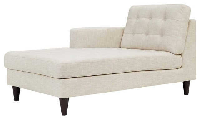 Empress Left-Arm Upholstered Fabric Chaise, Beige by LexMod