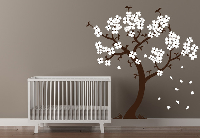 Cherry Blossom Tree Wall Decal Brown and White & Cherry Blossom Tree Wall Decal - Contemporary - Wall Decals - by ...