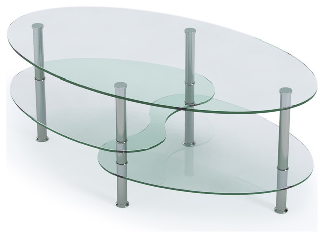 Ryan Rove Ashley 38 Quot Oval Two Tier Clear Glass Coffee