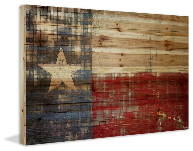 """texas"" Print On Natural Pine Wood, 45""x30""."