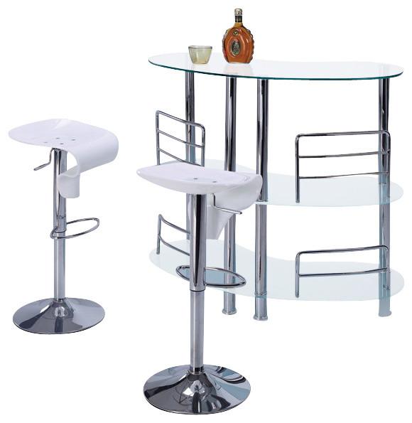MBT 02 FR + M215BS WH White Glass U0026 Acrylic Three Piece Bar