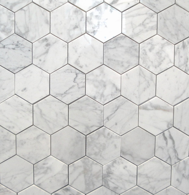 Bianco Carrara 3quot Polished Hexagon MarbleTiles  : traditional wall and floor tile from www.houzz.com size 620 x 640 jpeg 83kB