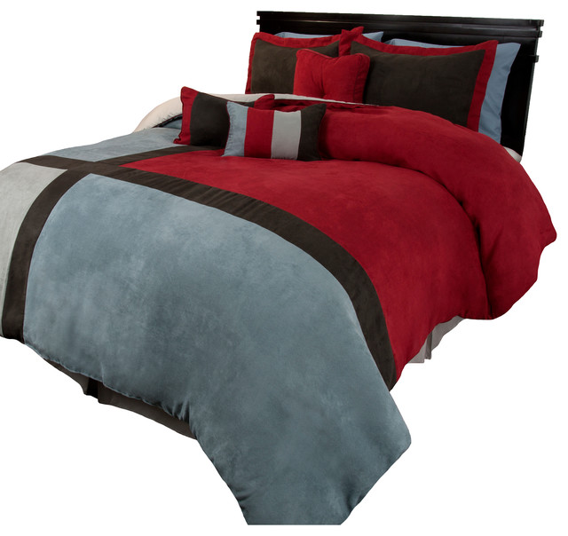 suede comforter sets king Lavish Home Rhea Suede Comforter Set   Modern   Comforters And  suede comforter sets king