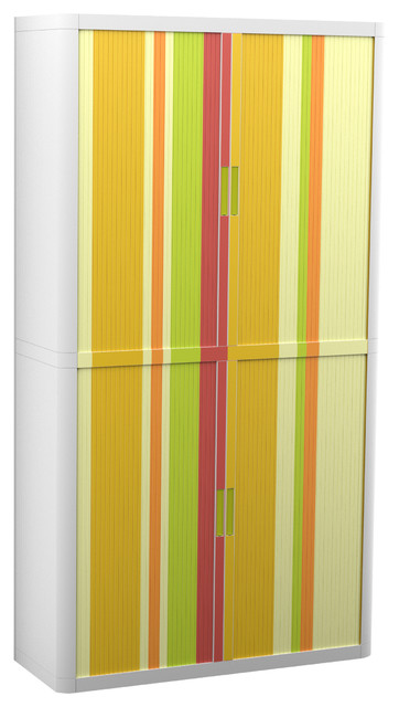 "Paperflow Easyoffice Storage Cabinet, 80"" Tall, Four Shelves, Yellow Green Red."
