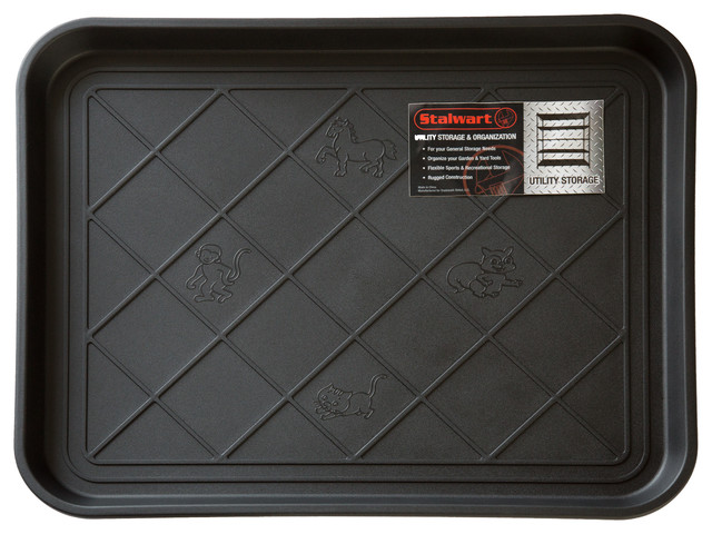 Stalwart Eco Friendly Utility Boot Tray Mat, 20 X 15 Inches, Black.