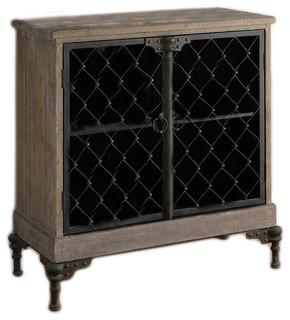 Crestview Orleans 2-Door Wood/Metal Cabinet in Distressed Metal CVFZR316