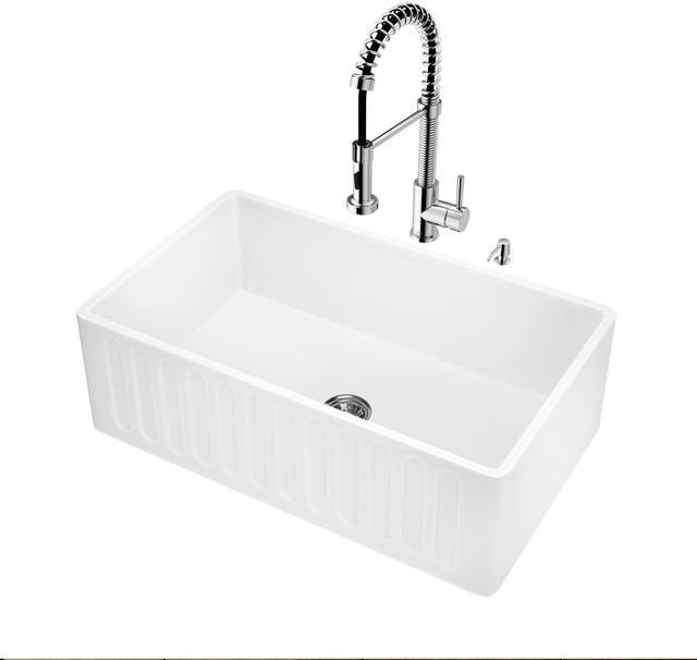 """Vigo All-In-One 30"""" Matte Stone Farmhouse Kitchen Sink Set."""