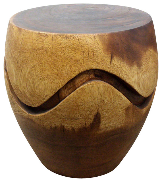 Barrel Puzzle Acacia Wood End Table, Livos Walnut Oil Finish Rustic Side  Tables