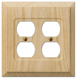 Baker Unfinished Alder Wood 2-Duplex Wall Plate - Farmhouse - Switch Plates And Outlet Covers ...