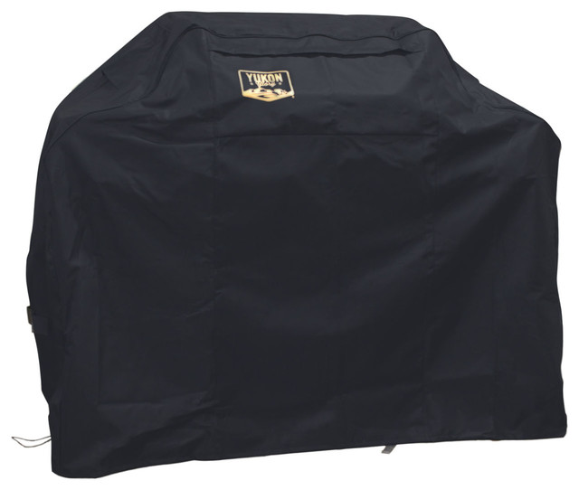 "Small Black Universal Cover With Dual Secure Features For Grill Up To 58""."