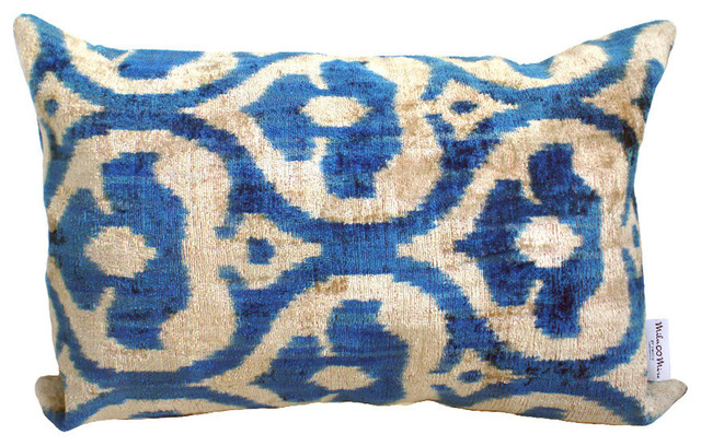 "Summer Velvet Cushion Cover, Blue,14""x24""."