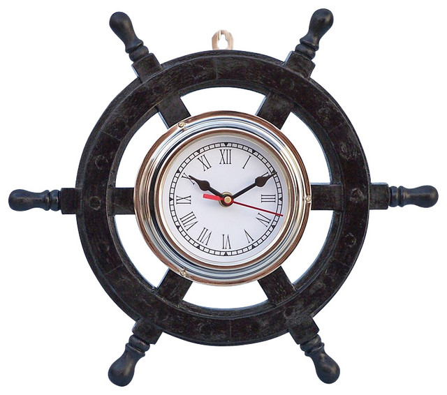 Deluxe Cl Pirate Ship Wheel Clock Wood And Chrome 12