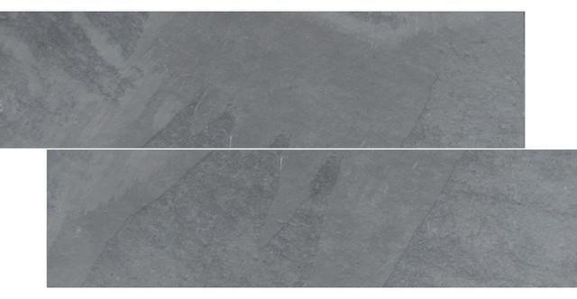"6""x24"" Brazilian Gray, Montauk Blue, Cleft Slate Herringbone Tile, Single Tile."