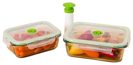 Superieur 5 Piece Glass Vacuum Food Storage Containers, Rectangle, Small