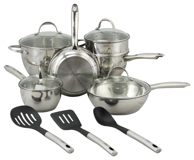 Oster Ridgewell 13-Piece Stainless Belly Shape Cookware Set, Silver Polish.
