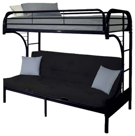 Eclipse twin over full futon bunk bed transitional Black bunk beds