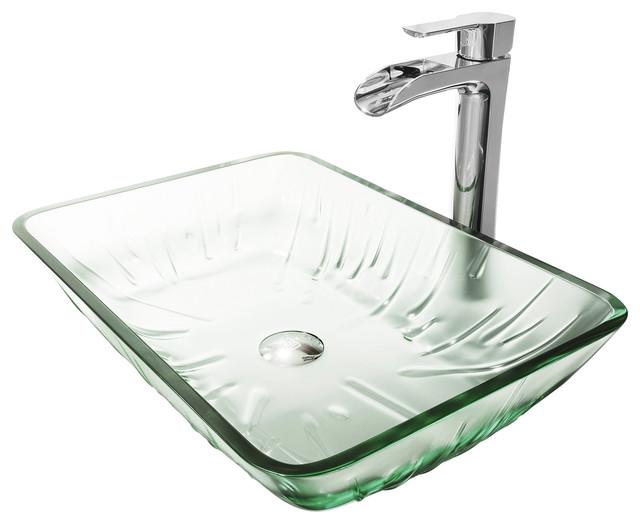 Vigo Rectangular Icicles Glass Vessel Bathroom Sink Set With Niko Vessel Faucet.