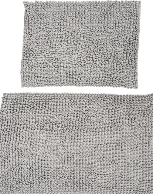 Luxury Gray Microfiber Chenille Loop Bath Rugs, 2 Piece Set, Taupe Beige  Contemporary