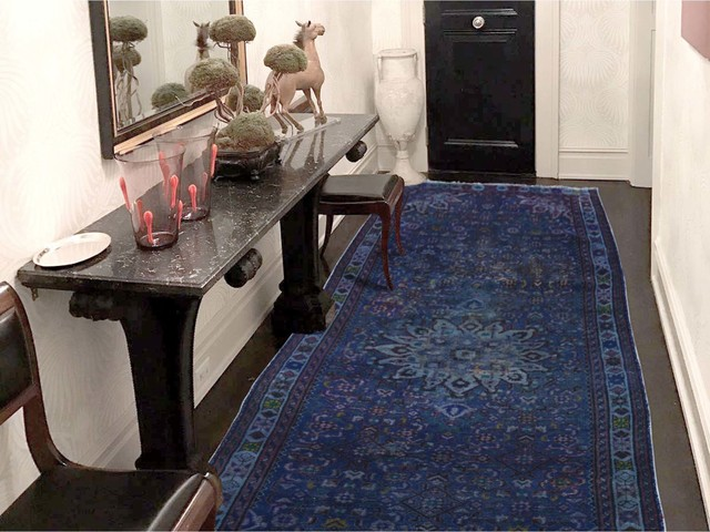 """Vintage Overdyed Persian Hamadan Wide Runner Hand Knotted Rug, 3&x27;6""""x10&x27;0""""."""