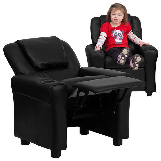Contemporary Black Leather Kids Recliner Cup Holder and Headrest contemporary-kids-chairs  sc 1 st  Houzz & Contemporary Black Leather Kids Recliner Cup Holder and Headrest ... islam-shia.org